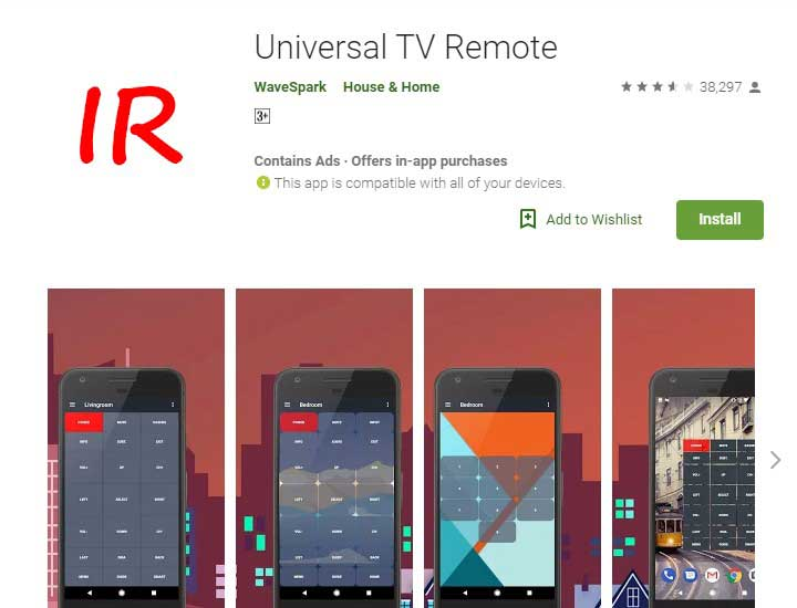 Universal TV remote app for android