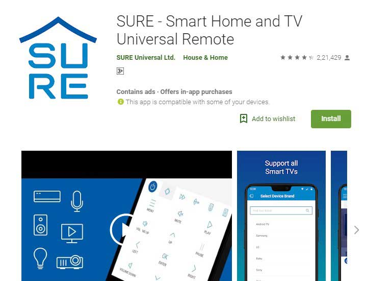 SURE universal TV remote app android
